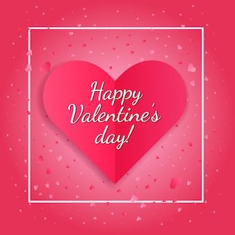 Cartão de dia dos namorados brilhante com coração de papel rosa