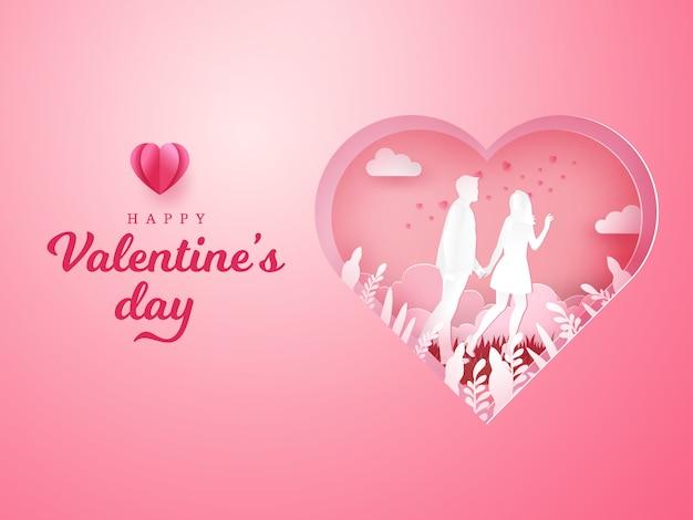 Cartão de dia dos namorados. casal andando e de mãos dadas com coração esculpida