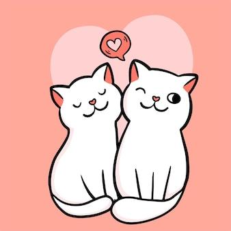 Cartão de dia dos namorados. casal de dois gatos apaixonados