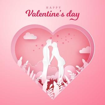 Cartão de dia dos namorados. casal romântico beijando e de mãos dadas com o coração esculpido