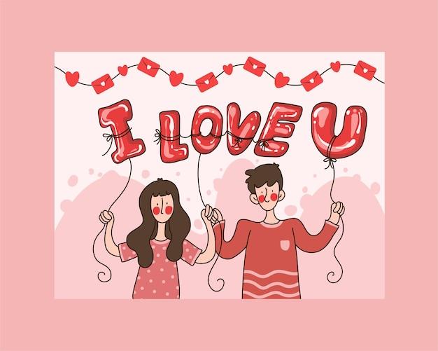 Cartão de dia dos namorados, casal segurando um balão eu te amo florescendo nas mãos