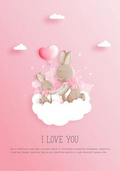 Cartão de dia dos namorados com 2 coelhinhos fofos, cartão de dia das mães.