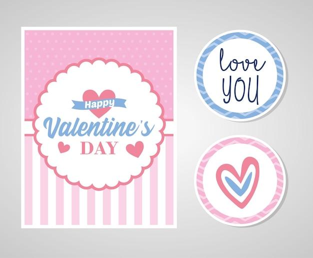 Cartão de dia dos namorados com adesivos.