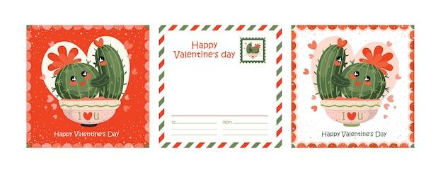 Cartão de dia dos namorados com alguns cactos em flor.