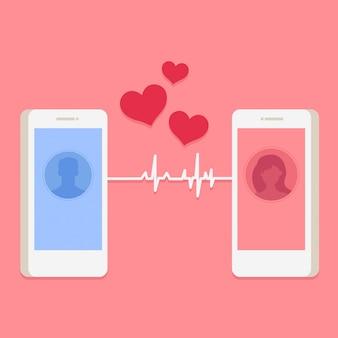 Cartão de dia dos namorados com avatares de homem e mulher no telefone inteligente