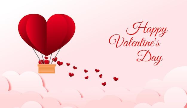 Cartão de dia dos namorados com balão de ar em forma de coração