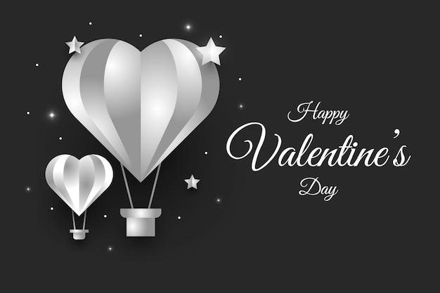 Cartão de dia dos namorados com balão de ar na cor metal