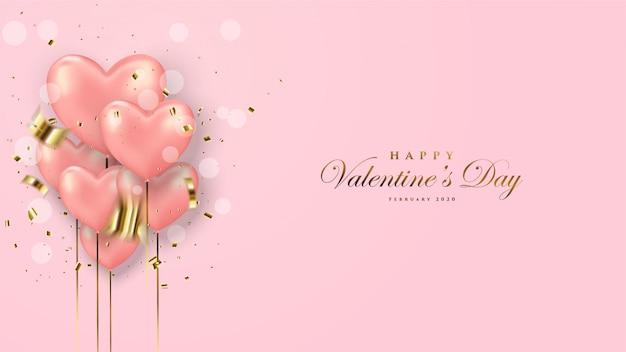 Cartão de dia dos namorados com balões de amor rosa e confetes ouro