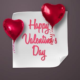 Cartão de dia dos namorados com balões realistas em forma de coração