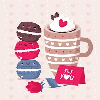 Cartão de dia dos namorados com biscoitos e uma xícara.