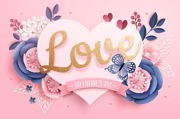 Cartão de dia dos namorados com cartão em forma de coração de papel e flores na superfície rosa em estilo 3d