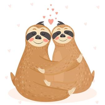 Cartão de dia dos namorados com casal de preguiças bonitinho