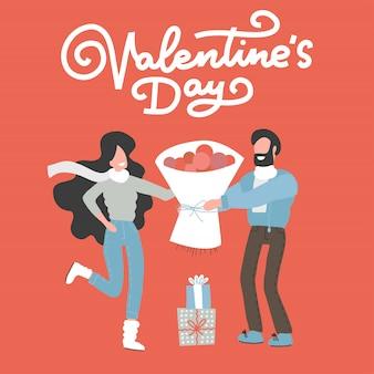Cartão de dia dos namorados com casal feliz.