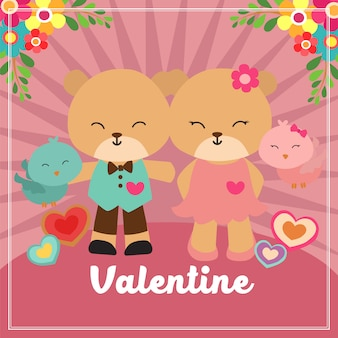 Cartão de dia dos namorados com casal urso e ave