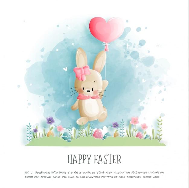 Cartão de dia dos namorados com coelho fofo e balão de coração