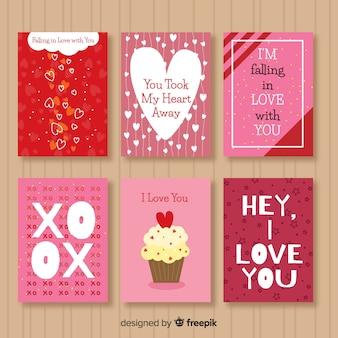 Cartão de dia dos namorados com coleção de mensagens