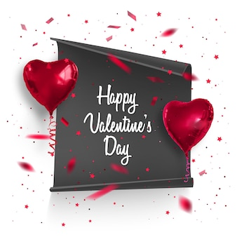 Cartão de dia dos namorados com confete e balões realistas.