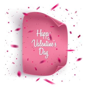 Cartão de dia dos namorados com confete e papel realista. Vetor Premium