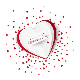 Cartão de dia dos namorados com confete no fundo.