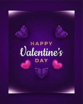 Cartão de dia dos namorados com coração 3d