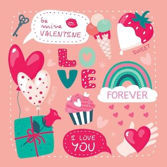 Cartão de dia dos namorados com coração, arco-íris, presente, morango.