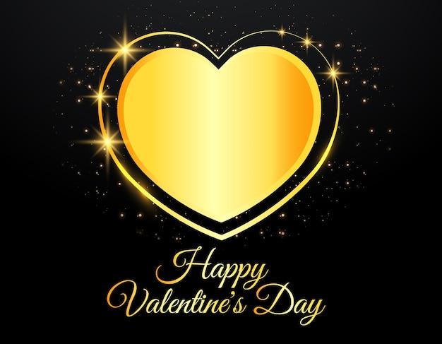 Cartão de dia dos namorados com coração de ouro