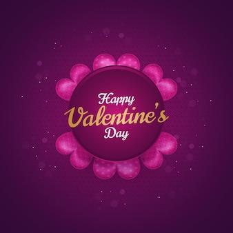 Cartão de dia dos namorados com coração rosa 3d