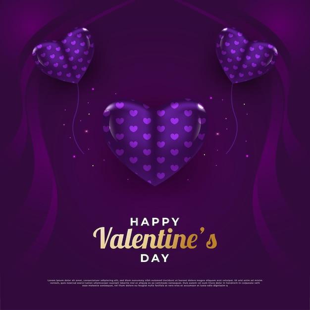 Cartão de dia dos namorados com coração roxo 3d