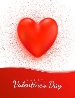 Cartão de dia dos namorados com coração vermelho 3d realista