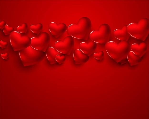 Cartão de dia dos namorados com corações 3d vermelhos