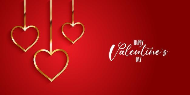 Cartão de dia dos namorados com corações de ouro
