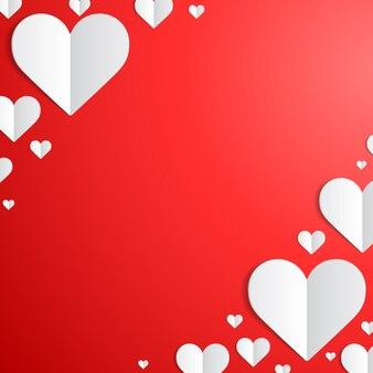 Cartão de dia dos namorados com corações de papel nos cantos