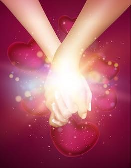 Cartão de dia dos namorados com corações, mãos
