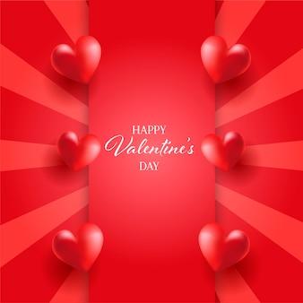 Cartão de dia dos namorados com corações no desenho starburst