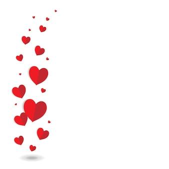 Cartão de dia dos namorados com corações vermelhos e ilustração vetorial de malha gradiente