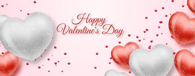 Cartão de dia dos namorados com corações vermelhos e prateados