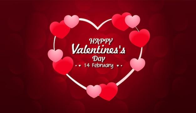 Cartão de dia dos namorados com corações