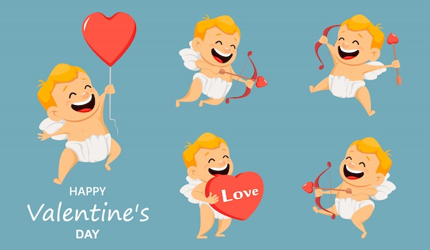 Cartão de dia dos namorados com cupido bonitinho.