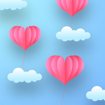 Cartão de dia dos namorados com decoração de romance amoroso em pastel suave com estilo de corte de papel de balão em forma de lareira voadora no céu azul pastel
