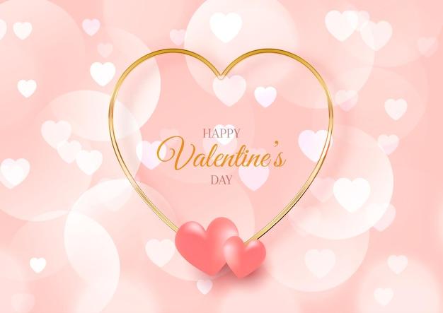 Cartão de dia dos namorados com design de corações e luzes bokeh