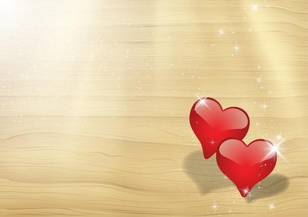 Cartão de dia dos namorados com dois corações em raios de luz solar