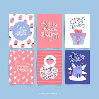 Cartão de dia dos namorados com elementos decorativos românticos desenhados à mão