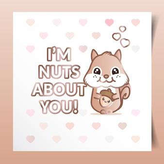 Cartão de dia dos namorados com esquilo segurando uma porca