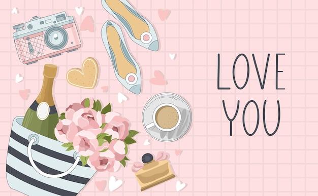 Cartão de dia dos namorados com flores, doces, ramos, elementos românticos e texto manuscrito.