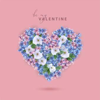 Cartão de dia dos namorados com forma de coração formado por flores realistas brancas, azuis e rosa