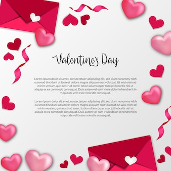 Cartão de dia dos namorados com formato de coração de amor rosa doce e decoração de quadro de envelope de carta de amor com fundo branco