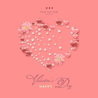 Cartão de dia dos namorados com formato de coração formado por corações rosa, pérolas e flores rosa