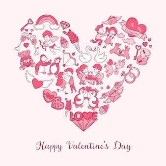 Cartão de dia dos namorados com ícones e texto doodle