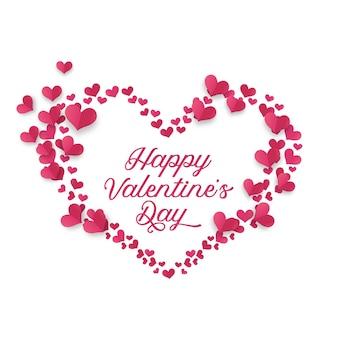 Cartão de dia dos namorados com ilustração de decoração de moldura de coração com tipografia