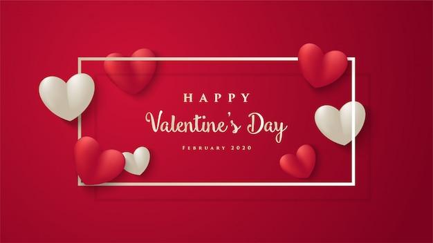 Cartão de dia dos namorados. com ilustrações 3d em vermelho e branco amor com um quadrado ao redor da palavra